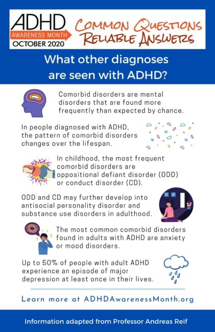 What other diagnosis are seen with adhd