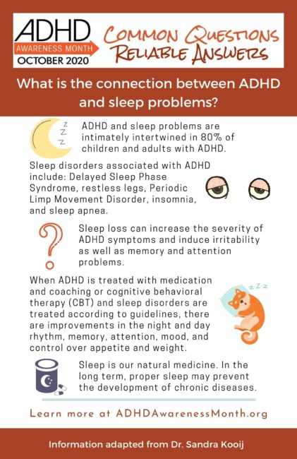 infographic connection between ADHD and sleep problems