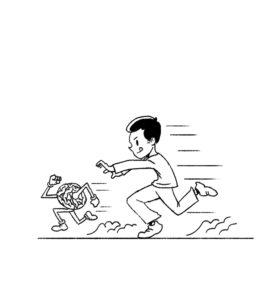 boy chasing a brain